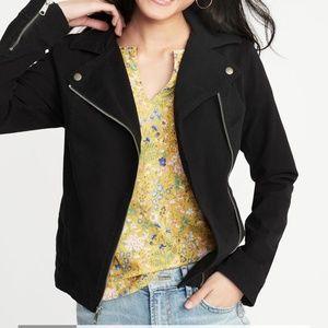 Women's Faux Suede Moto Jacket Small